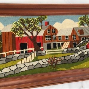 Vintage crewel embroidery picture farmhouse